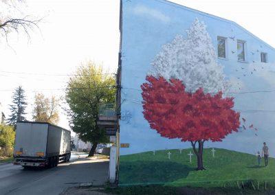 wykonany mural - 100 rocznica niepodległości (Czeladź)