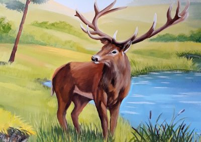 wykonane malowidło - jeleń