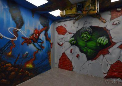 pomalowane ściany - Avengers, Spiderman