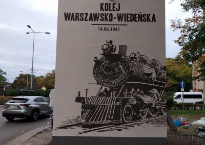 mural na trafostacji - kolej Warszawsko-Wiedeńska