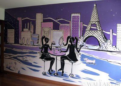 wykonane malowidło w sypialni
