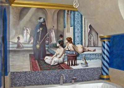wykonane malowidło w łazience