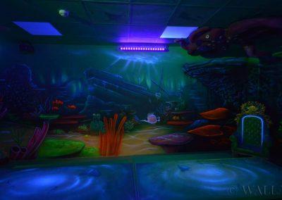 pokój urodzinowy - podwodny świat - malowanie fluorescencyjne UV