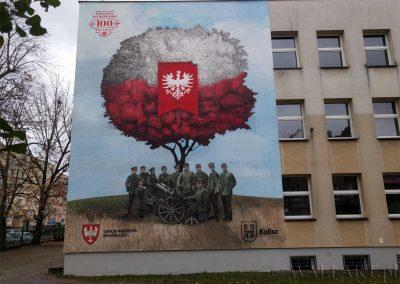 wykonany mural - rocznica 100 lat niepodległości (Kalisz)