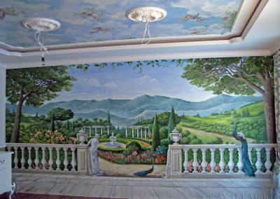 wykonane malowidło w salonie