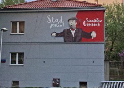 wykonany mural - Stanisław Grzesiuk