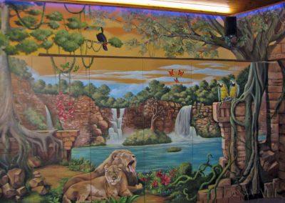 wykonane malowidło - wodospady