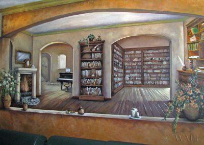 namalowana biblioteka na ścianie