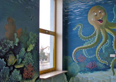 wykonane malowidło - ośmiornica
