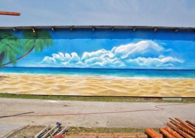 wykonane malowidło - namalowana plaża