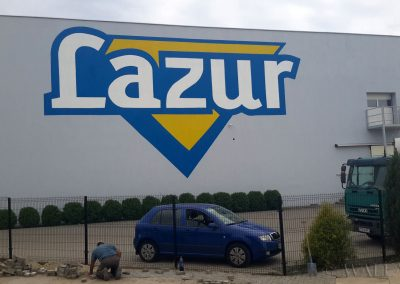 wykonane malowidło - logo Lazur