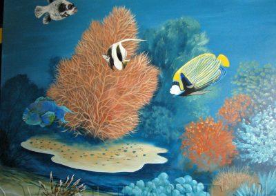 wykonane malowidło - namalowane ryby