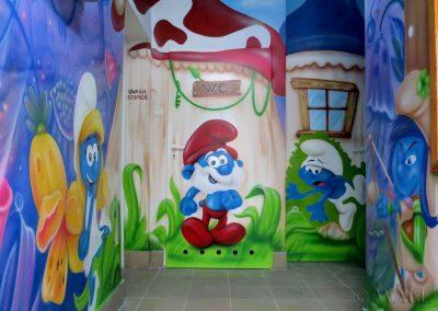 malowidło ścienne - Smurfy