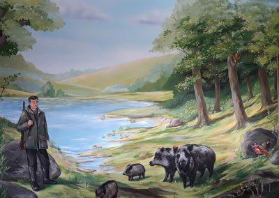 wykonane malowidło - las