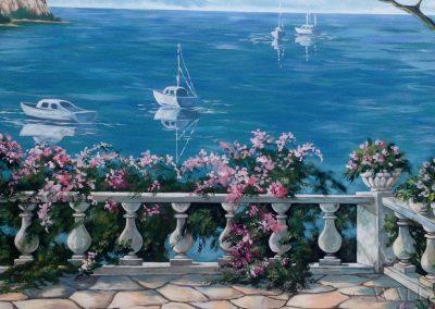 namalowana grafika - taras i morze