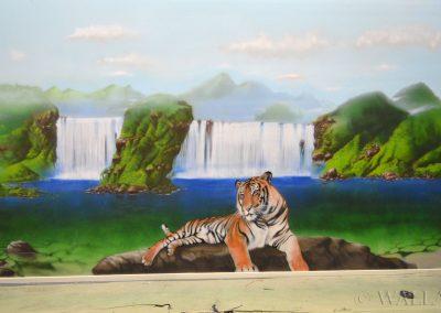 pomalowana ściana - tygrys