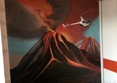 pomalowana ściana - namalowany wulkan