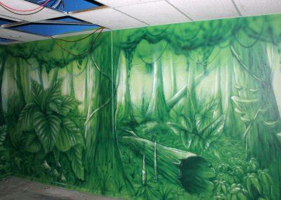 pomalowana ściana - dżungla