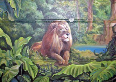 wykonane malowidło - lew