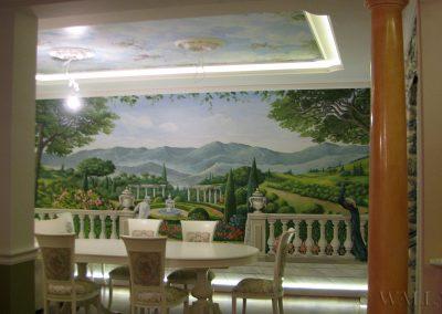 wykonane malowidło - mural w salonie