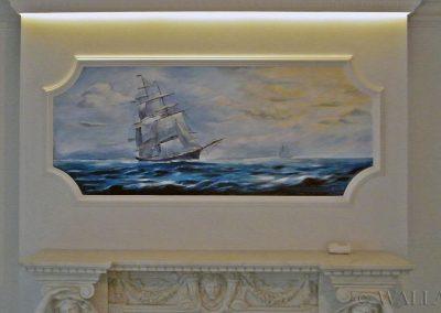 wykonane malowidło - statek na kominku
