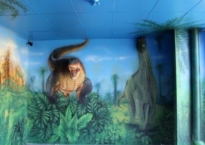 pomalowana ściana - dinozaur