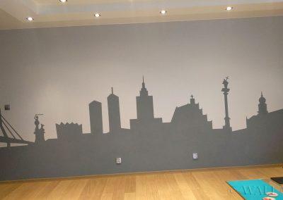 pomalowana ściana - panorama Warszawy