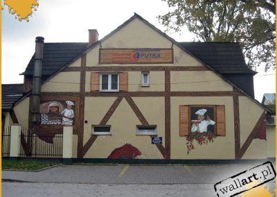 wykonane malowidło - mural na piekarni Putka