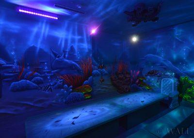 podwodny pokój urodzinowy - malowanie farbami UV