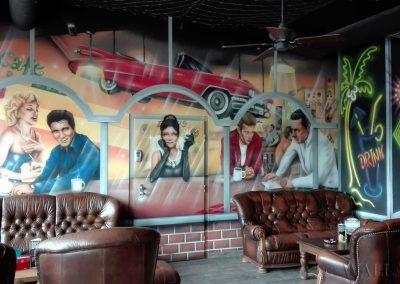 malowidło ścienne - wnętrze pubu