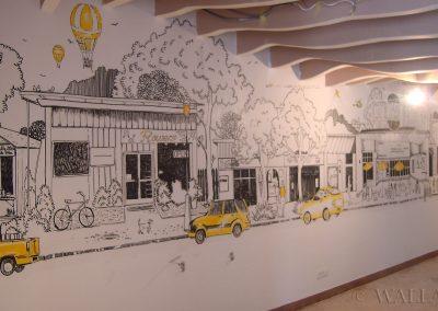 pomalowana ściana - mural w restauracji