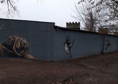 pomalowane ściany - mural ślimak