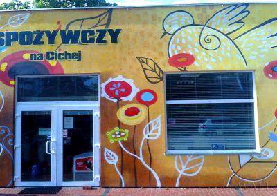 wykonane malowidło na sklepie spożywczym