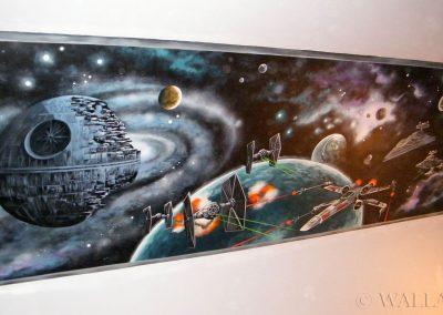 wykonane malowidło - Star Wars i Gwiazda Śmierci