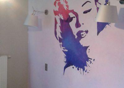 pomalowana ściana - Marylin Monroe