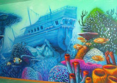 namalowana rafa i wrak - podwodny świat