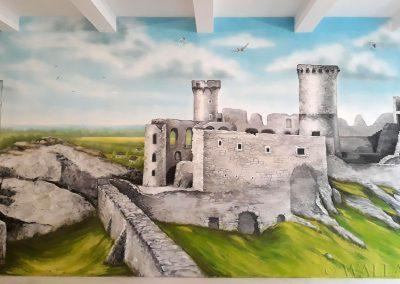 wykonany mural - zamek Ogrodzieniec