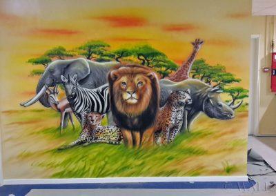 pomalowana ściana - zwierzęta afrykańskie